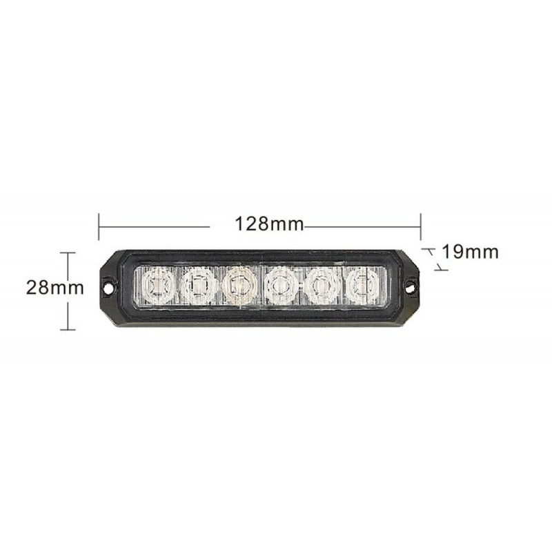 Predátor 6x3W LED 128*28 mm 12/24V, R10, R65